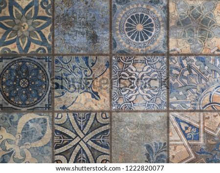 pattern with ornamental mosaic, decorative ceramic tile #1222820077