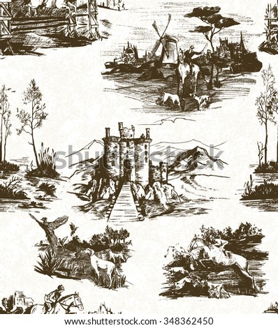 pattern with scenes of hunting