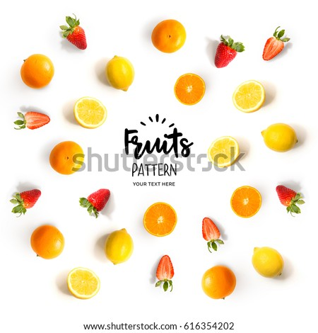 Pattern with strawberry, lemon and orange. Tropical abstract background. Strawberry, lemon and orange on the white background.