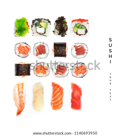 Pattern with sushi. Food abstract background. Sushi on the white background.