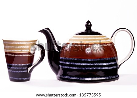Patterned pot with cup