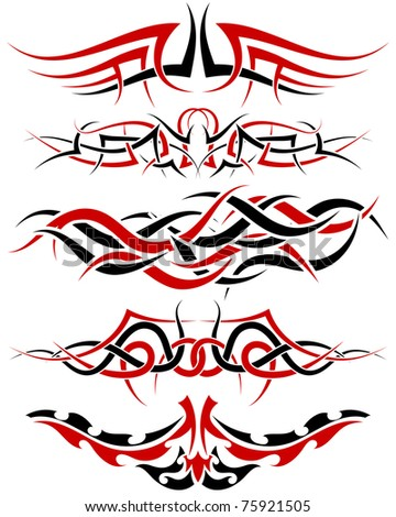 stock photo : Patterns of black and red tribal tattoo for design use