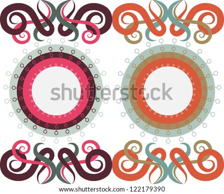 Patterns of circles and monograms, two color options. Raster copy of vector image