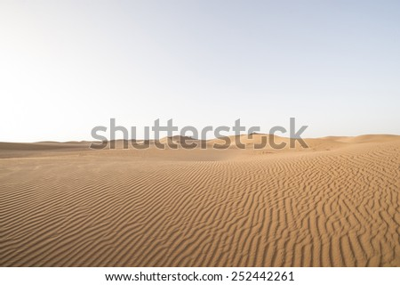 Patterns on a sand dune in the Sahara desert in Erg Chegaga in Morocco in Morocco in the spring during a hot sunny day.