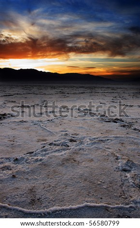 Patterns on the salt flats of Badwater Basin - Death Valley in California.