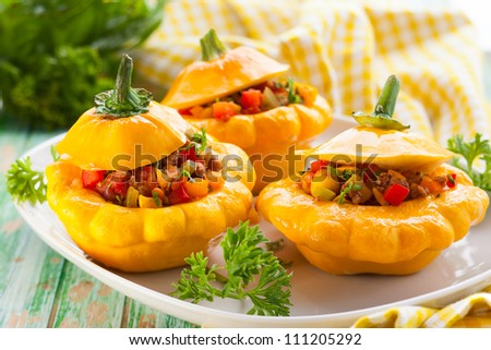 Patty pan squash stuffed with vegetables and meat #111205292