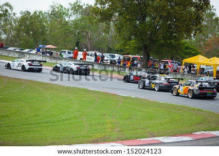 PATTYA, THAILAND-AUG.18 : Group of racing car in Super car class1 round 4 during the Thailand Super Series 2013 Round 3-4 at Bira International Circuit on August 18, 2013 in Pattaya, Thailand