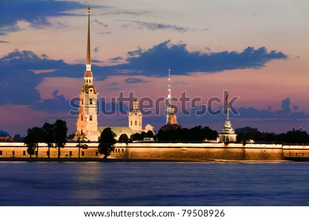 Paul and Peter fortress in Saint Petersburg city during the White Nights, Russia