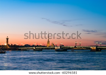 Paul and Peter fortress in Saint Petersburg, Russia in white nights from Neva river. Nightscene