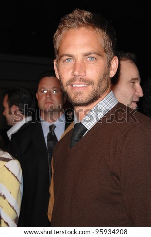 """PAUL WALKER at the Los Angeles premiere of """"Flags of our Fathers"""". October 9, 2006  Los Angeles, CA Picture: Paul Smith / Featureflash"""