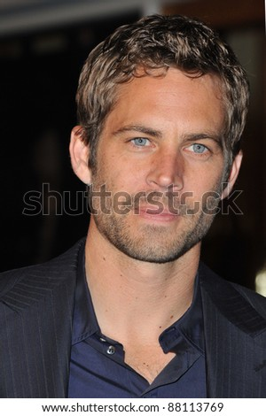 "Paul Walker at the world premiere of his new movie ""Fast & Furious"" at the Gibson Amphitheatre, Universal Studios, Hollywood. March 12, 2009  Los Angeles, CA Picture: Paul Smith / Featureflash"