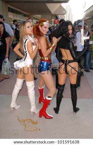 Paula Labaredas as Barbarella, Phoebe Price as Wonder Woman and Alicia Arden as Aeon Flux at San Diego Comic Con, San Diego Convention Center, San Diego, CA. 07-24-10