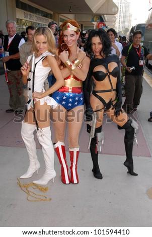 Paula Labaredas as Barbarella, Phoebe Price as Wonder Woman and Alicia Arden as Aeon Flux members at San Diego Comic Con, San Diego Convention Center, San Diego, CA. 07-24-10