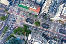 Paulista near Consolação, two major avenues in São Paulo, SP, Brazil, seem from above