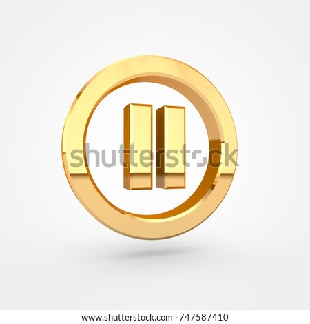 Pause button. 3d render of golden button isolated on white background.