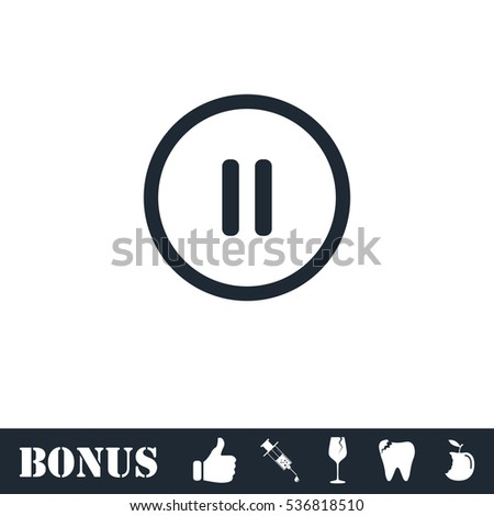 Pause button icon flat. Simple illustration symbol and bonus pictogram