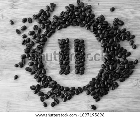 Pause Button made of Coffee Beans, Black & White