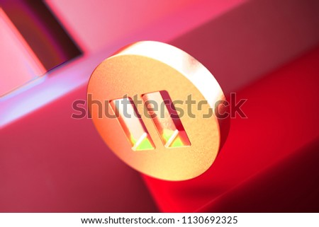 Pause Icon on the Red Geometric Background. 3D Illustration of Metallic Audio, Button, Control, Media, Pause Icon Set With Color Boxes on Red Background.
