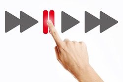 Pause, Male hand pressing pause button on the virtual screen