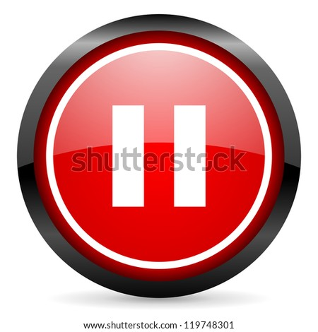 pause round red glossy icon on white background
