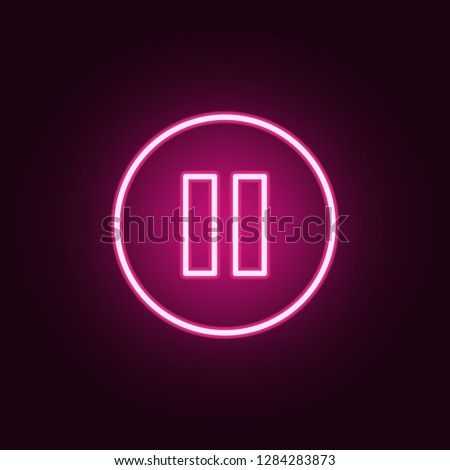 pause sign in a circle icon. Elements of web in neon style icons. Simple icon for websites, web design, mobile app, info graphics