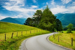 Paved trail at Cades Cove Great Smoky Mountains National Park  in Tennessee