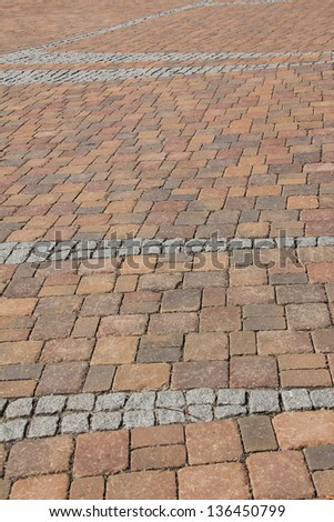 pavement Background of red and grey cobble stones #136450799