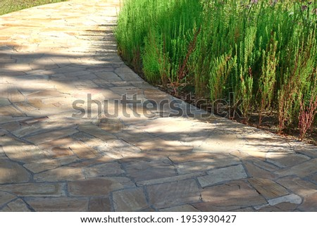 Pavement from Tiled Limestone In Garden landscaping. Backyard Garden Shaded Footpath from Tiled Stone Slabs. Flagstone Walkway in The Garden. Shady Pathway From Stone Tiles In The Park. Foto stock ©