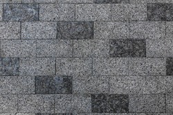 Pavement stone texture. Old brick floor pattern. Cobblestone sidewalk top view. Cobble rock street path. Square construction exterior closeup. Gray slab patio mosaic. Granite wall