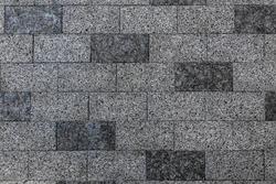Pavement stone texture. Old brick floor pattern. Cobblestone sidewalk top view. Cobble rock street path. Square construction exterior closeup. Gray slab patio mosaic. Granite wall
