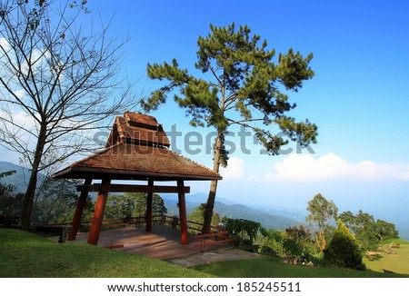 Pavilion and mist on hill side and green nature. at chiang mai, Thailand.