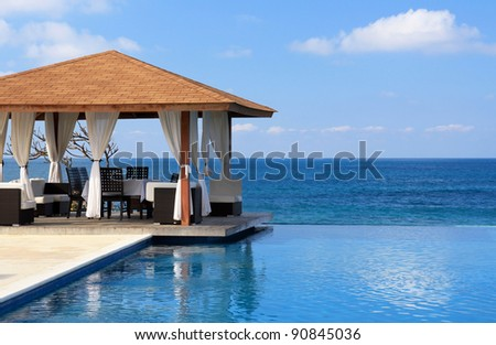 Pavilion and swimming pool near Atlantic Ocean, Dominican Republic