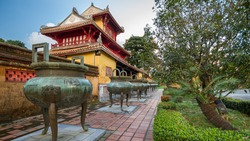 Pavilion and urns in the Imperial City of Hue, Vietnam