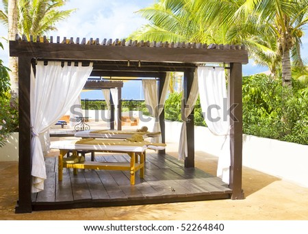 Pavilion for Spa procedures in tropical garden