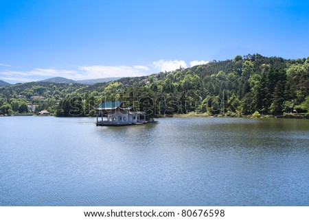 pavilion in the lake at summer in Mount. Lu,a famous summer resort in China