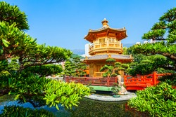 Pavilion of Absolute Perfection at the Nan Lian Garden, a chinese classical garden in Diamond Hill in Hong Kong city in China