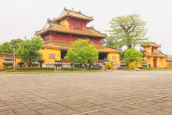 Pavilion of Splendour (Hien Lam Cac) pagoda temple at the ancient, historic imperial city citadel of Hue, Vietnam.