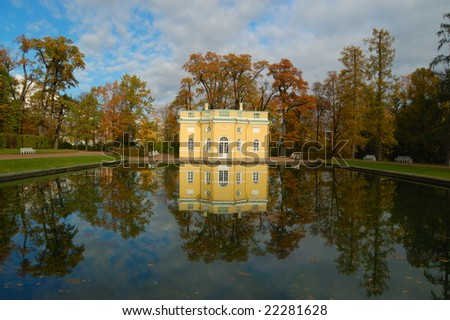 Pavilion reflecting in the pond in the park of Katherine?s Palace in Tsarskoe Selo near St. Petersburg, Russia
