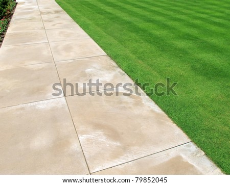 Paving and lawn as abstract or background