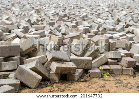Paving slabs in a mess on the square