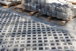 Paving stone masonry. Grey Stone Block Paving