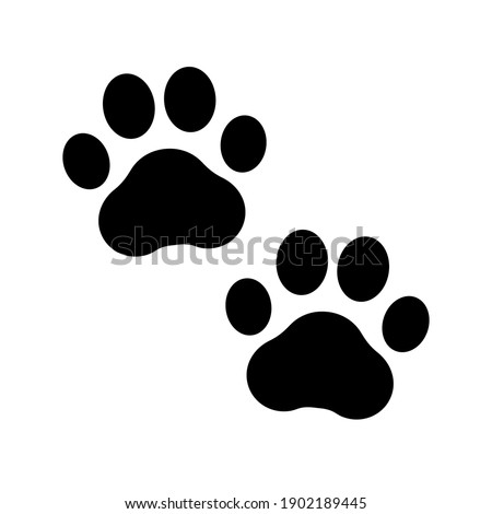 Paw prints. Dog or cat icon. Footprint pet. Foot puppy isolated on white background. Black silhouette paw. Cute shape paw print. Walks for design. Animal track. Trace foot dog, cat. Illustration
