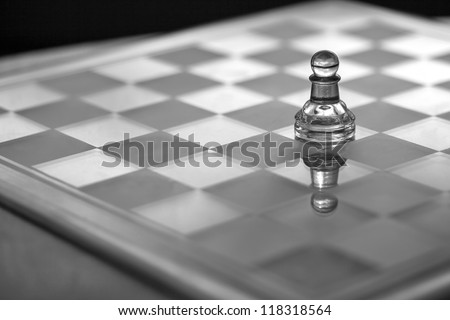 Pawn chess piece - business concept series - small business, sole trader, growth, strategy, competition, survival. Copy space / business card.