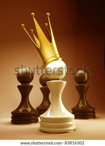 Pawn in a golden crown