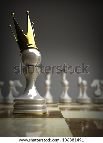 Pawn in a golden crown 3d illustration. high resolution