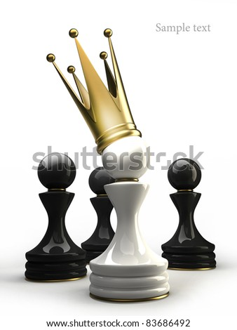 Pawn in a golden crown isolated on white 3d