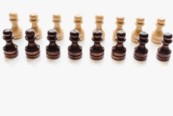 pawns on white background, chessmen, chess