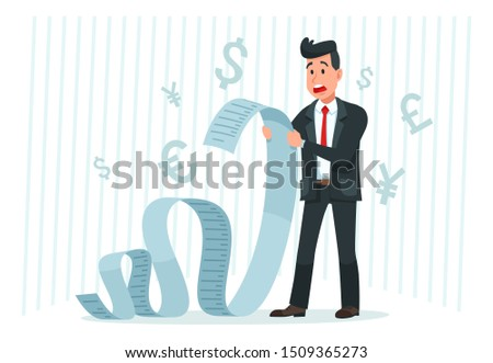 Pay big bill. Businessman holding long bill, shocked by payment amount and paying finance bills. Business banking bills, delayed payment or overdue paying debt invoice form cartoon
