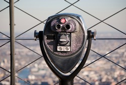 Pay binoculars at the top of the Empire State Building in New York City