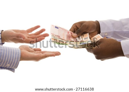 Pay day - Man giving some euros isolated on white